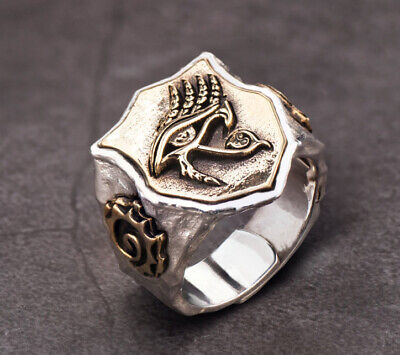 Solid 925 Sterling Silver Egyptian Mythology Eye of Horus Men's Ring M102