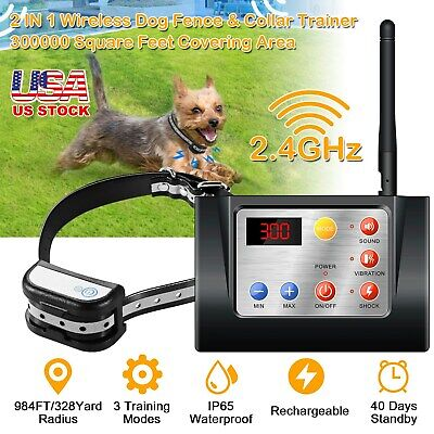 NEW Electric Dog Training Shock Collar Dog Fence Wireless Pet Containment System