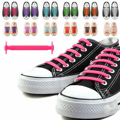 UK No Tie Elastic Shoe Laces Silicone System Lock Adults Runner Shoelaces New