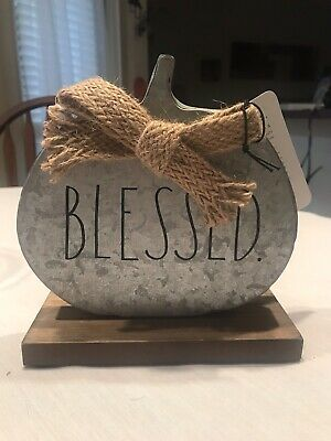 New Rae Dunn Pumpkin Decor Blessed Tin Black Galvanized Bow