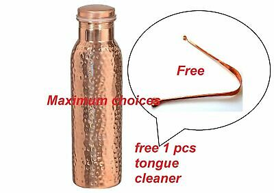 Indian Hammered Traditional Pure Copper Water Bottle Yoga Health Benefits