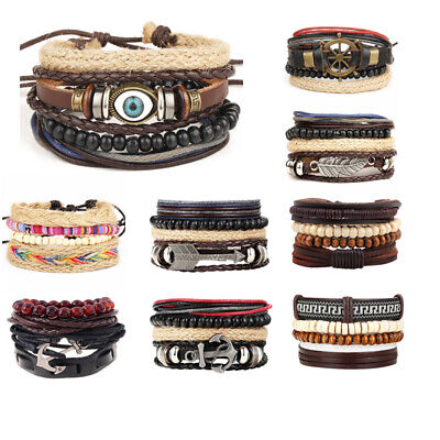 Braided Multilayer Vintage Leather Wristband Bracelet Set Men Women Gift Punk