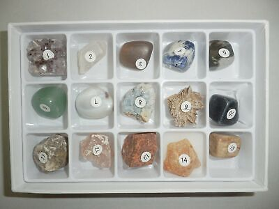 15 Rough & Polished Mineral Stone Set RSS15M Education Specimen Kit in Paper Box