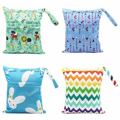 Dual Zipper Baby Diaper Bag Cartoon Striped Nappy Bag Washable Wet Dry Pouch Bag