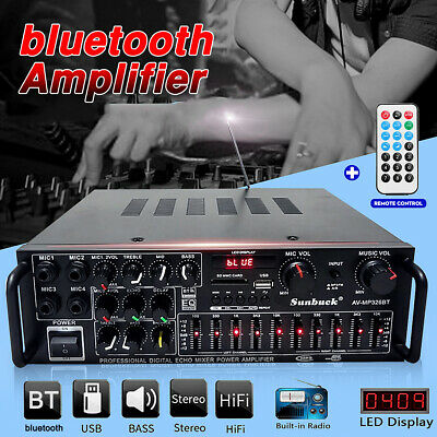 800W bluetooth Stereo Amplifier HIFI Tuner LED USB SD Mic 2CH 110V- 240V