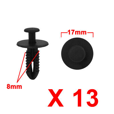 13Pcs 8mm Black Plastic Rivets Push Type Trunk Retainer Fastener Clip for Car