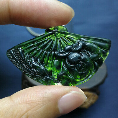 Fine Beautiful Chinese Natural Black Green Dark Jade Fan Pendant  Amulet Gifts