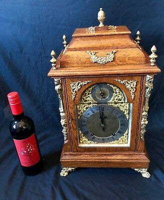 # HUGE Antique Oak & Ormolu Bracket Mantel Clock WINTERHALDER & HOFFMEIER W & H