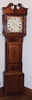 # Antique Oak & Mahogany Inlaid Grandfather Longcase Clock : WOOD KNUTSFORD