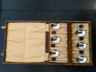 Vintage Silver Plated Coffee Bean Tea Spoon Teaspoon Case England