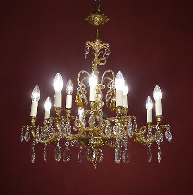 Crystal Brass Chandelier Vintage Lamp Fixtures 12 Light Home Decor Used Living R