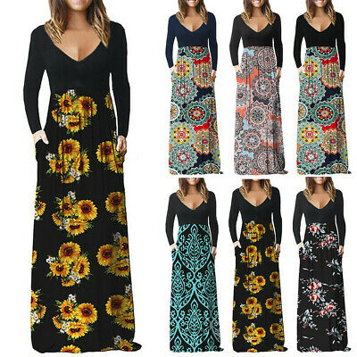 Fashion Womens High Waist Long Sleeve Loose Casual Long Maxi Dress With Pockets