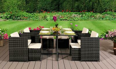 9 Piece Low Back Rattan Garden Cube Set Chairs Sofa Table Outdoor Patio