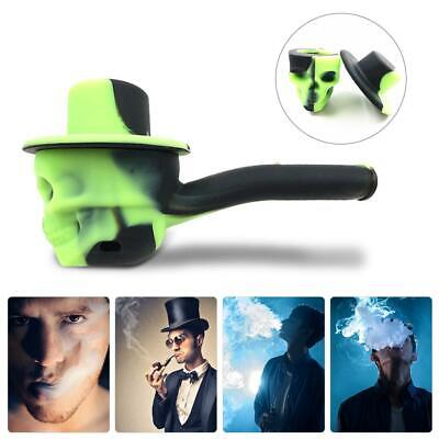 1PC Portable Flexible Skull Silicone Weed Tobacco Smoking Pipe with Cap Green