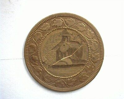 """Canada 1880'S Large Cent Engraved """"Church"""" Love Token About Uncirculated"""