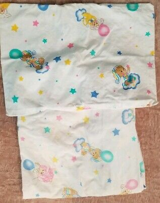 Vintage Teddy Beddy Bear Fitted Crib Sheet & Toddler Pillowcase Lamb Bunny