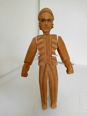 "Vintage 9"" Hand Carved Wood Man w/ Jointed Arms"