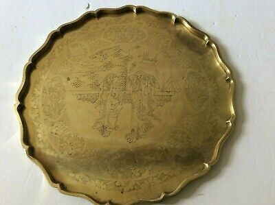 Antique Chinese Solid Brass Figural Ladies & Man Garden Scene Serving Tray