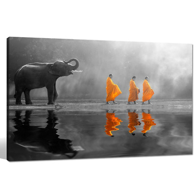 sechars - Elephant Wall Art,Human at Peace with Nature,Monk in Yellow Frock Alms