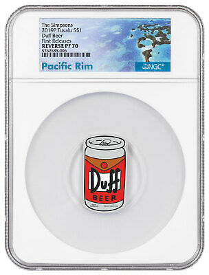 2019 Tuvalu The Simpsons Duff Beer 1 oz Silver Colorized $1 NGC PF70 FR SKU59132