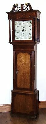 # Antique Oak & Mahogany Inlaid Grandfather Longcase Clock : ADAMS MIDDLEWICH