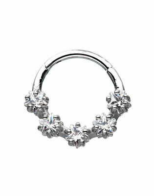"316L Surgical Steel Hinged Septum Clicker 5 Star Stone 3/8"" - 9.5mm 16 Gauge 16G"