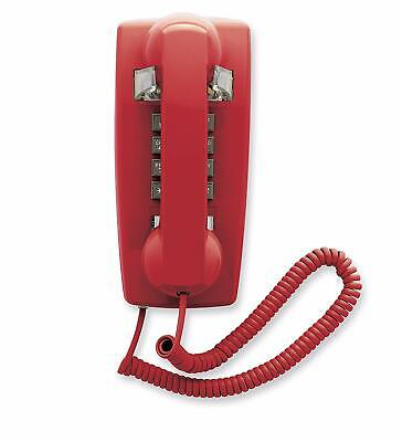 Retro Emergency Wall Phone Push Button Beige Red Telephone Corded Gift Collector