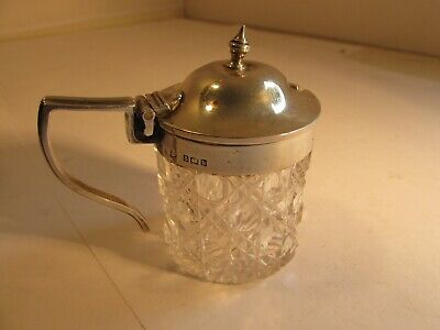 solid silver and cut glass mustard pot    birmingham 1901