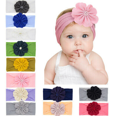 Soft Toddler Turban Girls Flower Hairband Baby Nylon Headbands Head Wraps
