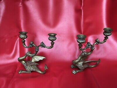 Pair Of Vintage Rare Brass Dragon Candle Stick Holders