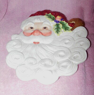 Fitz And Floyd Porcelain Holiday Santa Face Canape Or Appetizer  Plate