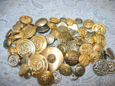 Vintage LOT OF 40 Gold & Silver Tone Metal Sewing Buttons mixed lot Eagles