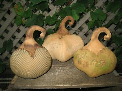 Primitive Trio of Fall Harvest Pumpkins~Grungy Old-Early Look Folk Art Halloween
