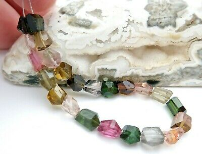 """EXOTIC AAAA+ FANCY FACETED MULTI GREEN PINK BLUE GREEN+ TOURMALINE 5.3"""" 22.2cts"""