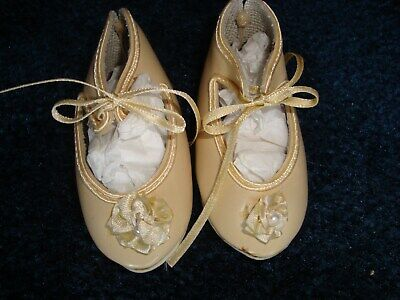 "French antique style shoes for French German bisque doll 3 3//16/"" long sz4"