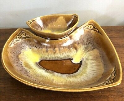 Vtg 60s Chip & Dip Dish Retro Midcentury Pottery Bowl Dish Set 2 pc Maurice