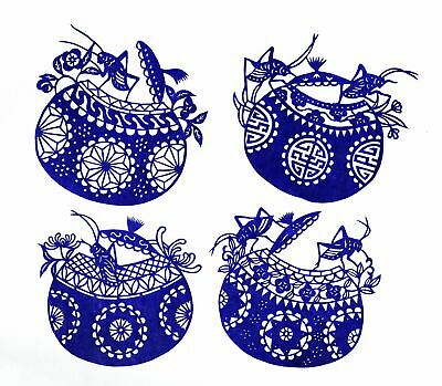 Chinese Paper Cuts Pair Cricket Set Blue color 4 small single pieces