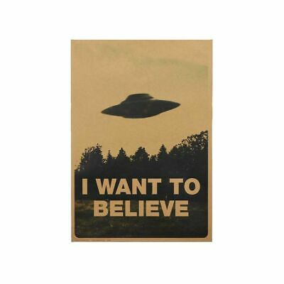 GC KF/_ JN/_ 50.5x35cm I Want To Believe Vintage UFO Painting Poster Wall Home De