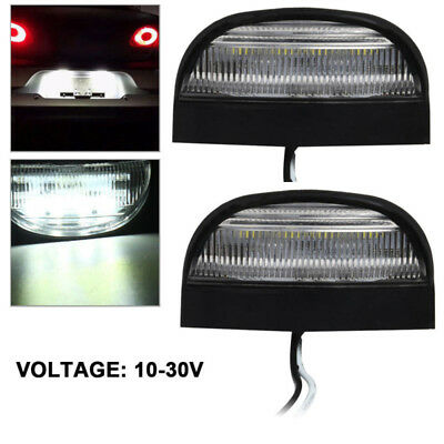 2PCS 12/24V LED Rear License Number Plate Light Lamp Truck Caravan Lorry Trailer