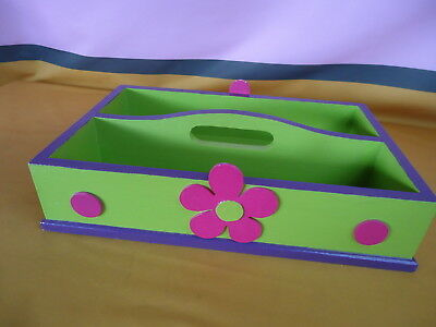 WOODEN Storage Tray With Handle HAND PAINTED Bright Colors 2 Compartments #6908