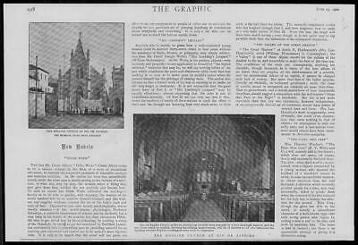 1900 Antique Print - SOUTH AMERICA Rio De Janeiro English Church Pews  (220)