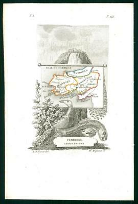 1823 Original Antique Map - WALES PEMBROKESHIRE CAERMARTHENSHIRE by Perrot (39)