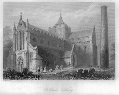 1840 IRELAND - Original Antique Print View of ST CANICE KILKENNY (84)