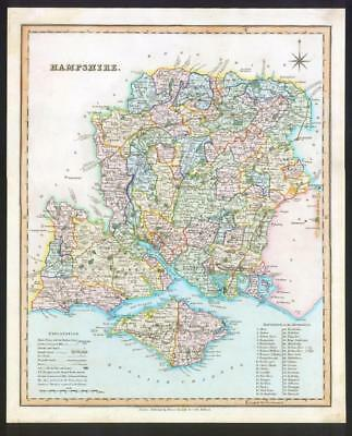 1831 - HAMPSHIRE Original Antique LARGE COLOURED Map by HENRY TEESDALE