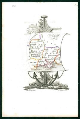 1823 Original Decorative Antique Map - WILTSHIRE HAMPSHIRE by Perrot (31)