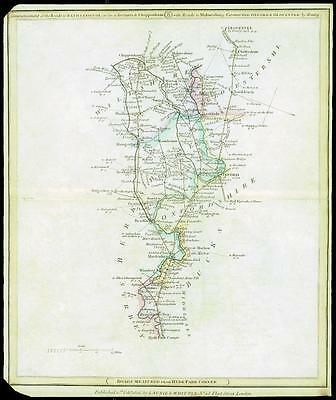 1806 Original Antique Road Map MIDDLESEX > OXFORDSHIRE > WILTSHIRE > GLOUCESTER