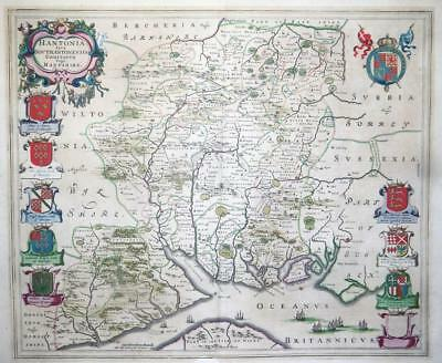 1659 Large Original Antique Map - HAMPSHIRE Hantonia by Blaeu Spanish Edition