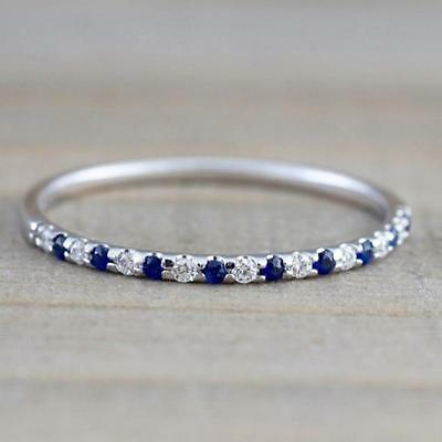 Women Crystal Rings Silver Plated Band Ring Cubic Zirconia Jewellery Gift LA