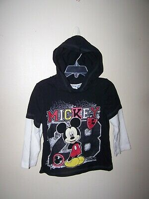Disney toddler boys size 3T shirt hooded long slv MICKEY MOUSE black white layer