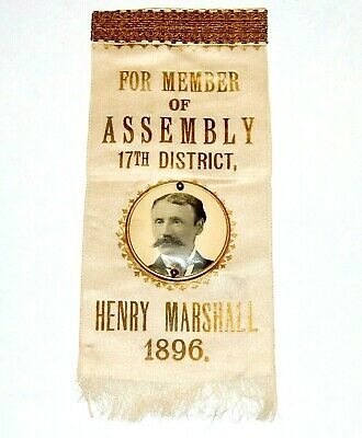 1896 HENRY MARSHALL ASSEMBLY BADGE Brooklyn New York button pinback political